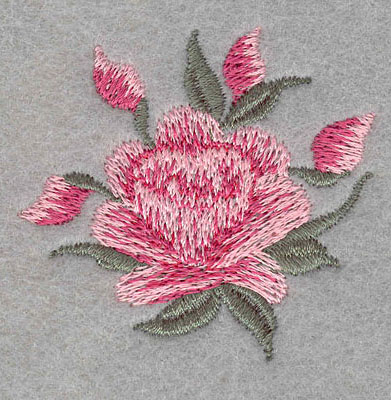 """Embroidery Design: Single rose with four buds small2.08""""w X 1.92""""h"""