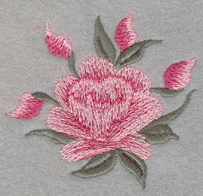 """Embroidery Design: Single rose with four buds large3.1""""w X 2.9""""h"""