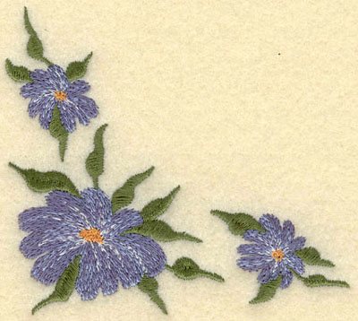 Embroidery Design: Forget Me Not 3 Corner Cluster Small3.83w X 3.42h