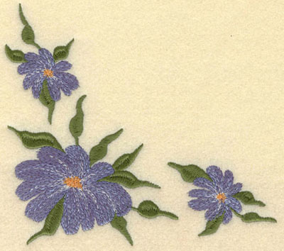 Embroidery Design: Forget Me Not 3 Corner Cluster Large 5.73w X 5.12h