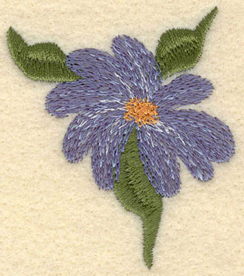 Embroidery Design: Forget Me Not Bloom w/3 Leaves Small2.14w X 2.51h