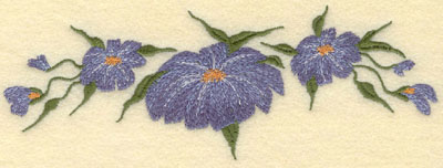 Embroidery Design: Forget Me Not Horizontal 3 Bloom7.50w X 2.65h