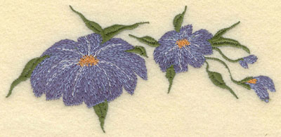 Embroidery Design: Forget Me Not Horizontal 2 Bloom5.55w X 2.65h