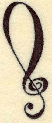 Embroidery Design: Treble Clef Small1.31w X 3.62h