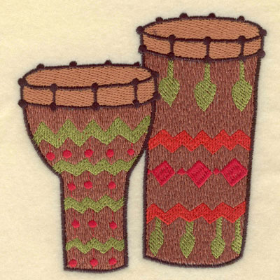 Embroidery Design: Bongo and Conga Drums Large 4.81w X 5.01h