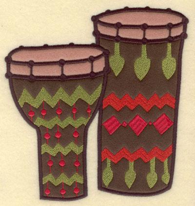 Embroidery Design: Bongo/Congo Drums Dbl. Applique7.23w X 7.50h