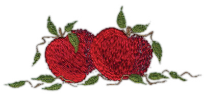 """Embroidery Design: Two Apples4.11"""" x 1.68"""""""