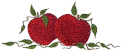 """Embroidery Design: Two Apples 27.18"""" x 2.95"""""""
