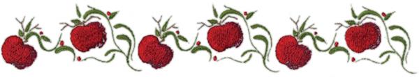 """Embroidery Design: Apple Vine Border11.65"""" x 2.00"""""""