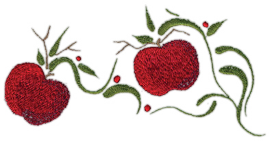 """Embroidery Design: Two Apples Decorative6.75"""" x 3.41"""""""