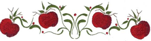 "Embroidery Design: Apple Vine Border (large)11.65"" x 2.96"""