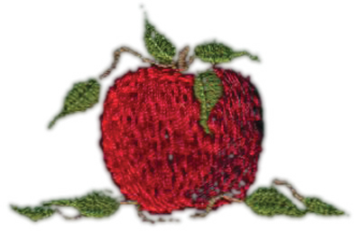 "Embroidery Design: Apple 42.13"" x 1.41"""
