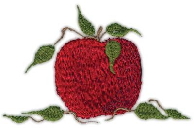 "Embroidery Design: Apple 63.73"" x 2.46"""