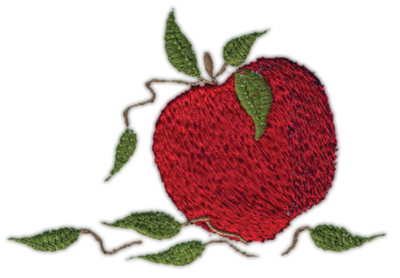 "Embroidery Design: Apple 93.99"" x 2.74"""