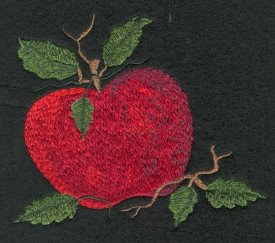 "Embroidery Design: Fruit of the Spirit Apple (medium)4.40"" x 3.86"""