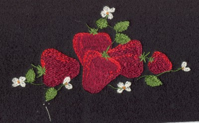 "Embroidery Design: Fruit of the Spirit Strawberries (small)5.18"" x 2.60"""