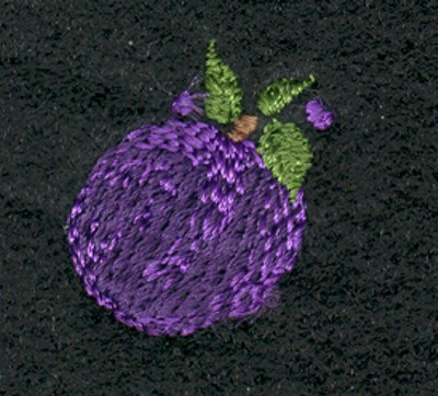 "Embroidery Design: Fruit of the Spirit Plum 2 (small)0.81"" x 0.93"""