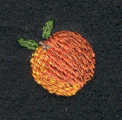 "Embroidery Design: Fruit of the Spirit Peach 2 (small)0.82"" x 0.82"""