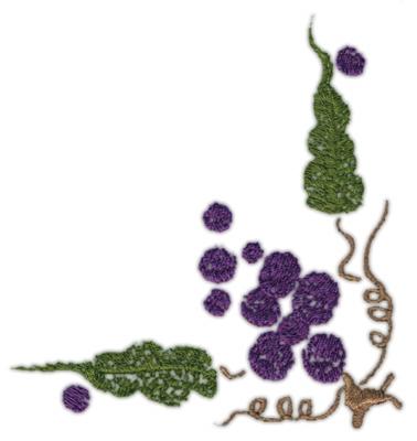 """Embroidery Design: Grape Corner 24.02"""" x 4.25"""""""