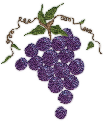 """Embroidery Design: Grapes (large)4.07"""" x 4.78"""""""
