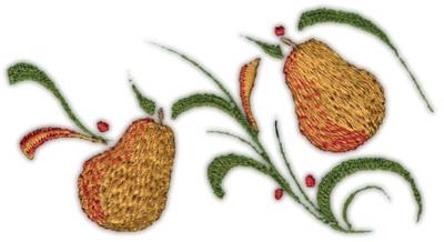 "Embroidery Design: Pears deco4.47"" x 2.43"""