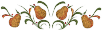 """Embroidery Design: Pears deco 3 (large)11.42"""" x 3.28"""""""