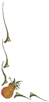 """Embroidery Design: Pear Corner Border9.26"""" x 4.60"""""""