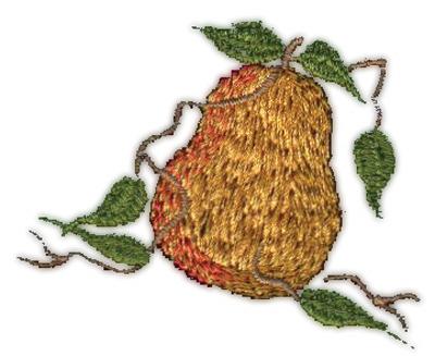 "Embroidery Design: Pear (small)2.25"" x 1.92"""