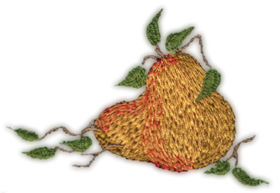 """Embroidery Design: Two Pears (small)3.19"""" x 2.10"""""""