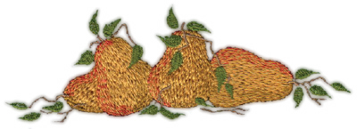 """Embroidery Design: Three Pears6.19"""" x 2.12"""""""