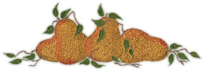 """Embroidery Design: Three Pears (large)8.66"""" x 2.96"""""""