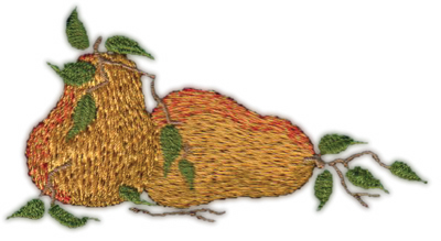 """Embroidery Design: Two Pears 23.85"""" x 2.07"""""""