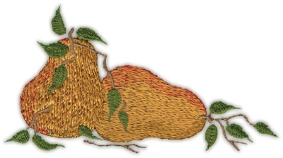 """Embroidery Design: Two Pears 35.39"""" x 2.89"""""""