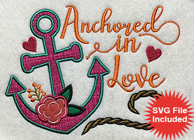 Embroidery Design: Anchored In Love Applique 6.74w X 5.01h