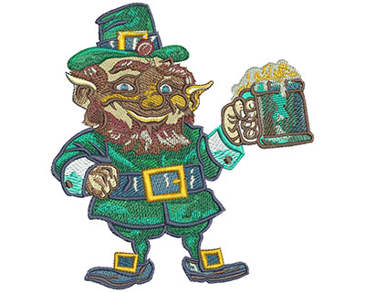 Embroidery Design: Leprechaun Cheers Lg 5.06w X 5.52h