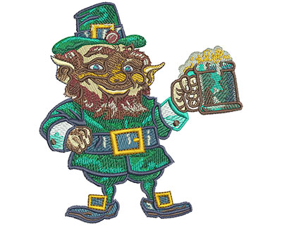 Embroidery Design: Leprechaun Cheers Med 4.14w X 4.51h