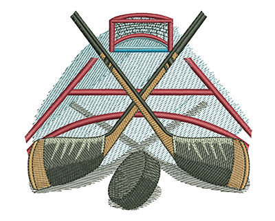 Embroidery Design: Hockey Sticks and Puck Lg 4.43w X 3.89h