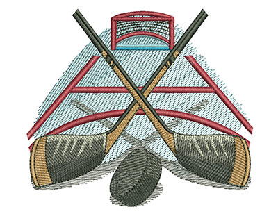 Embroidery Design: Hockey Sticks and Puck Med 4.02w X 3.53h