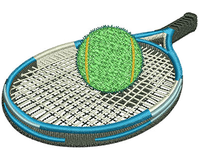 Embroidery Design: Tennis Racket And Ball Lg 4.02w X 2.77h