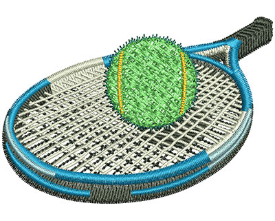 Embroidery Design: Tennis Racket And Ball Sm 3.02w X 2.09h