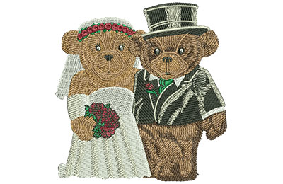 Embroidery Design: Weddings Bears Lg 3.85w X 4.03h