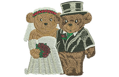 Embroidery Design: Weddings Bears Med 3.37w X 3.53h