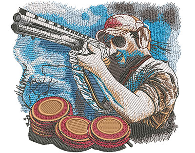 Embroidery Design: Trap Shoot Lg 5.93w X 5.26h