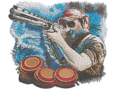 Embroidery Design: Trap Shoot Med 4.94w X 4.40h