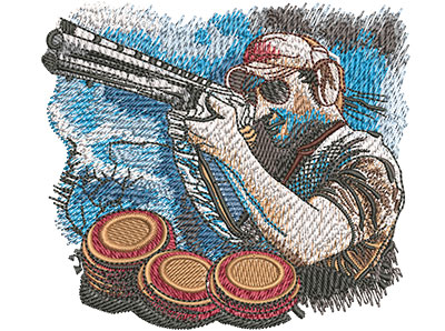 Embroidery Design: Trap Shoot Sm 3.93w X 3.50h