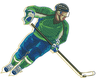 Embroidery Design: Funky Hockey Lg 4.87w X 3.84h