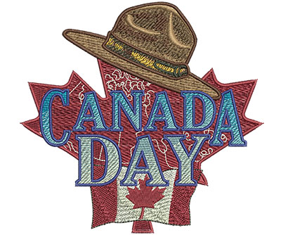 Embroidery Design: Canada Day With Hat Lg 5.25w X 5.07h