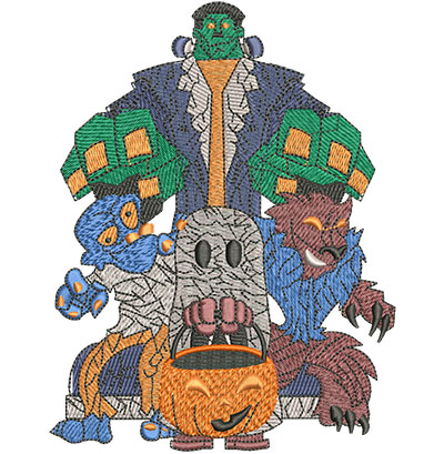Embroidery Design: Monster Mash Lg 4.63w X 6.02h