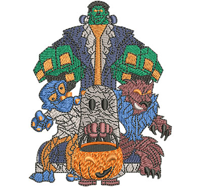 Embroidery Design: Monster Mash Sm 3.09w X 4.02h