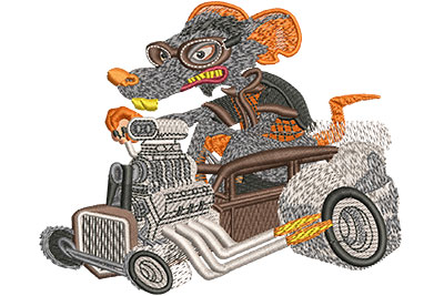 Embroidery Design: Rat Rod Lg 4.48w X 3.65h
